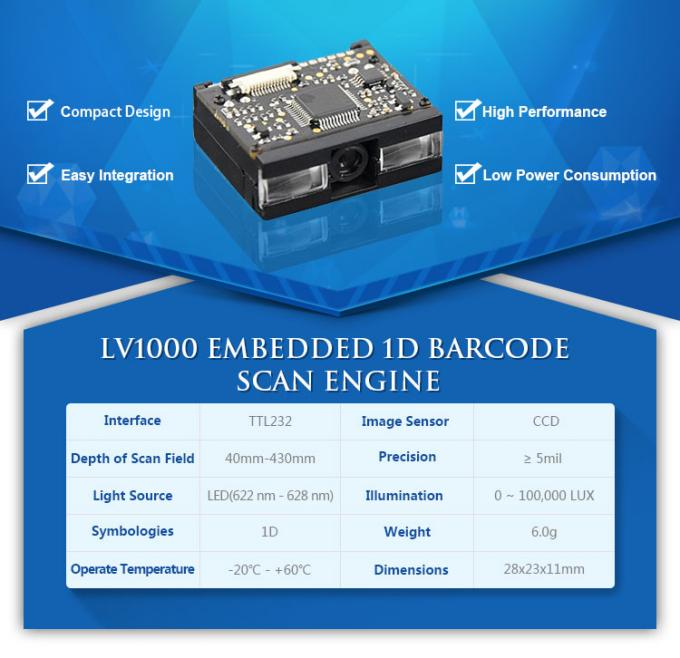 LV1000 Mini Barcode Scanner Module Engine 1D CCD Barcode Scanner with TTL232 INTERFACE