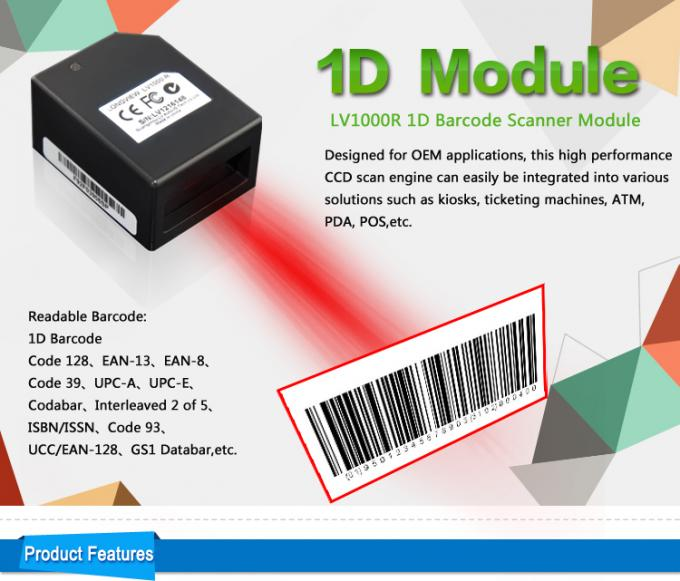Kiosk CCD 1D Barcode Scanner Module 265 LUX Light Intensity With Serial / USB Version