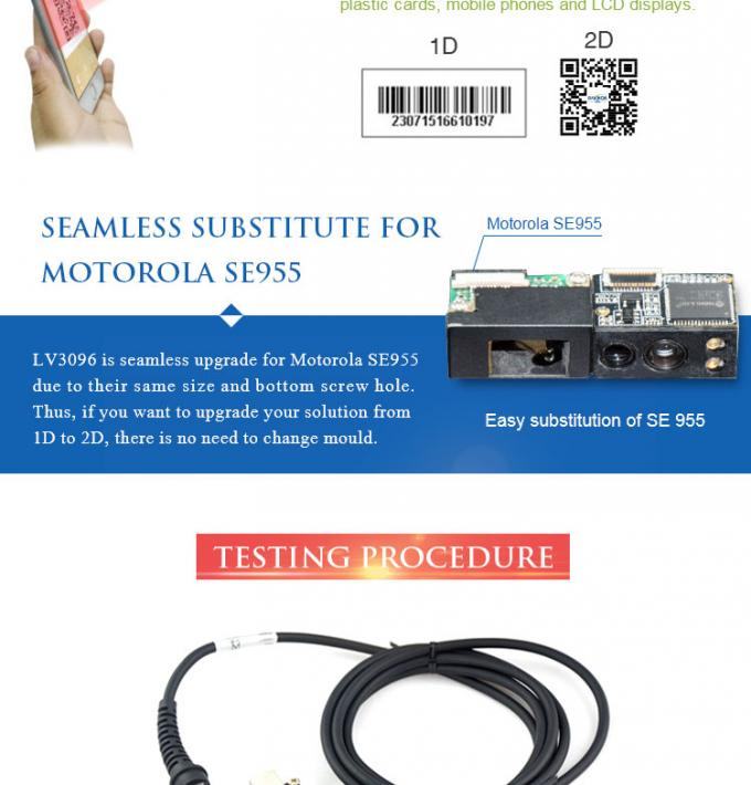 LV3096 2D CMOS Fixed Mount Barcode Scanner TTL232 Interface for Medical Devices