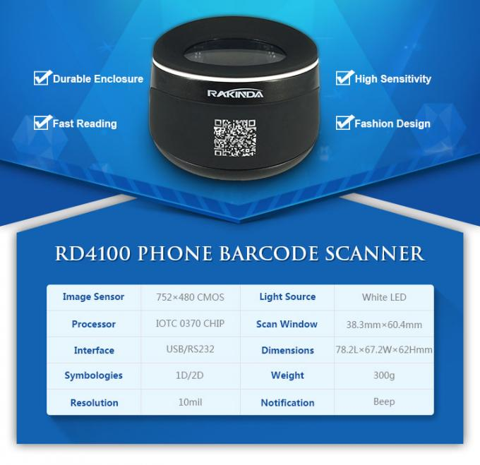 Red Fixed 2D Barcode Scanner Cordless 2500 Optical Resolution For Bus
