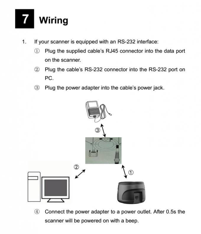 Round Desktop Barcode Scanner RS232 CMOS PDF417 Barcode