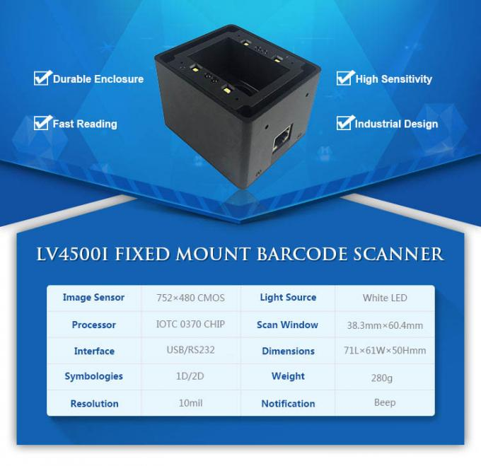 Access Control QR Code Barcode Scanner 10 mil Resolution 5% - 95% Humidity