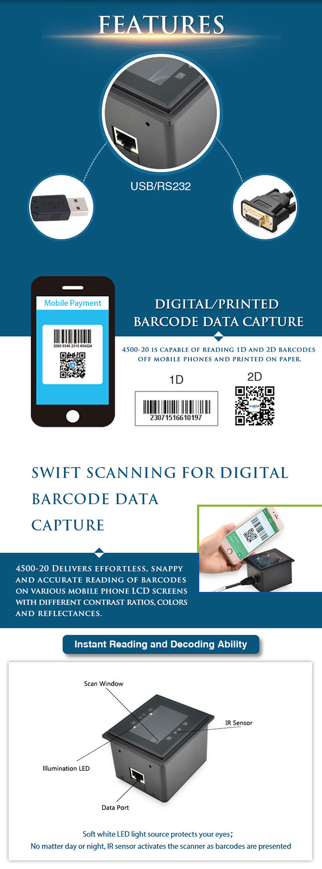 Good Phone Screen Reading Performance QR Code Payment for Unmanned Supermarket
