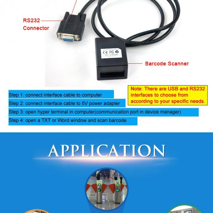 1.25W 1D Barcode Scan Engine USB Fixed Mount Long Distance For Vending Machines 0