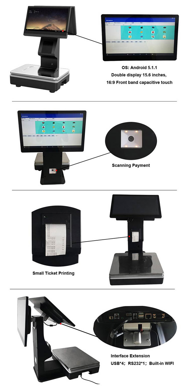 Android Smart Double Screens Scale with Mobile Payment,Small Ticket Printing Functions
