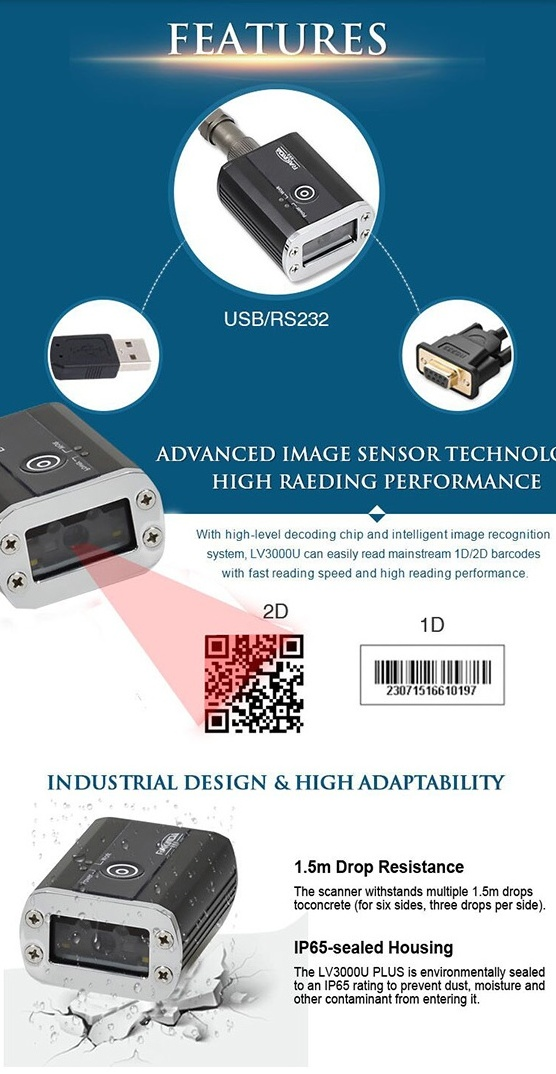 Production Line 1D 2D Arcode Scanner Module IP68 1.75W 1280*800 CMOS Industrial