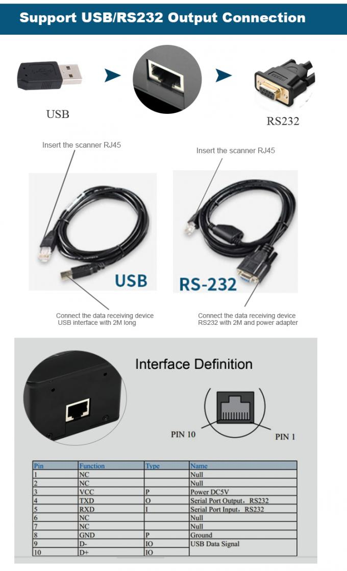 USB RS232 Fixed Mount Barcode Reader QR Payment Long Range Barcode Module 1.75W