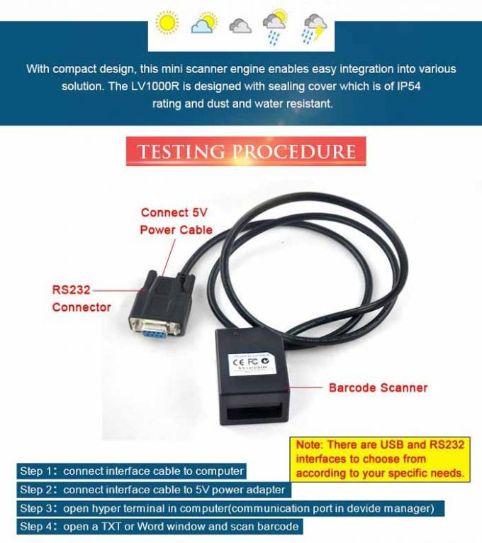 1D Fixed Mount Barcode Scanner USB Interface Embedded Type LV1000R IP54 4